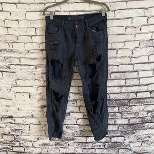 Brandy Melville Distressed Cropped Boyfriend Jeans